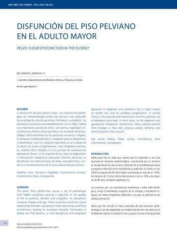 Disfunción Del Piso PelviAno en el ADulto mAyor - Clínica Las ...