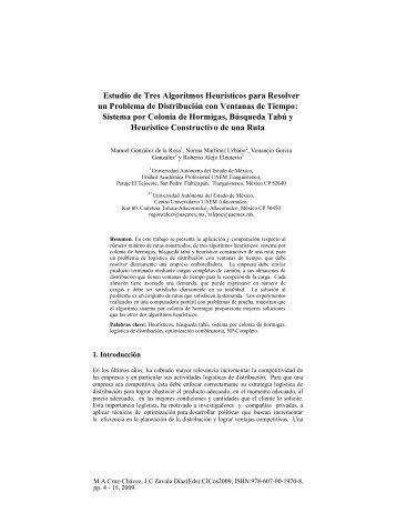 Estudio de Tres Algoritmos Heurísticos para Resolver un Problema ...