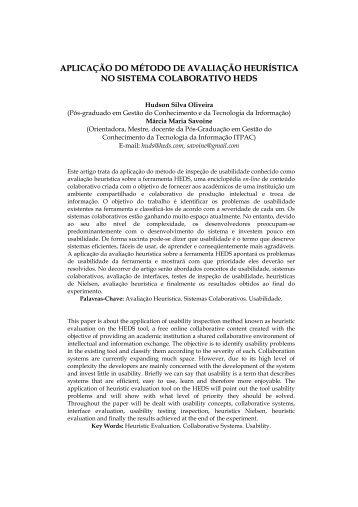 aplicação do método de avaliação heurística no sistema ... - itpac
