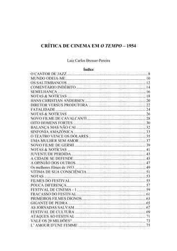 CRÍTICA DE CINEMA EM O TEMPO – 1954 - Bresser Pereira