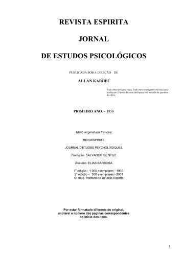 REVISTA ESPIRITA JORNAL DE ESTUDOS PSICOLÓGICOS