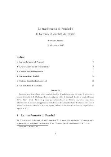 La trasformata di Fenchel e la formula di dualità di Clarke