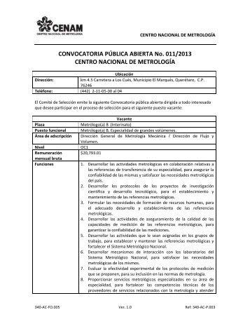 CONVOCATORIA PÚBLICA ABIERTA No. 011/2013 ... - cenam