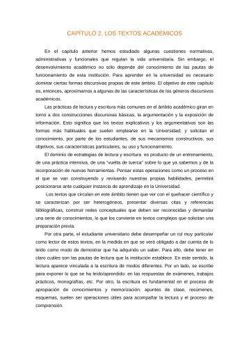 capítulo 2. los textos académicos - Universidad Nacional de Mar del ...