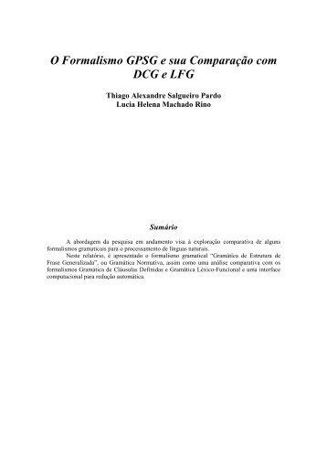 O Formalismo GPSG e sua Comparação com DCG e LFG - ICMC