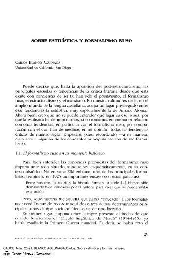 Sobre estilística y formalismo ruso - Centro Virtual Cervantes