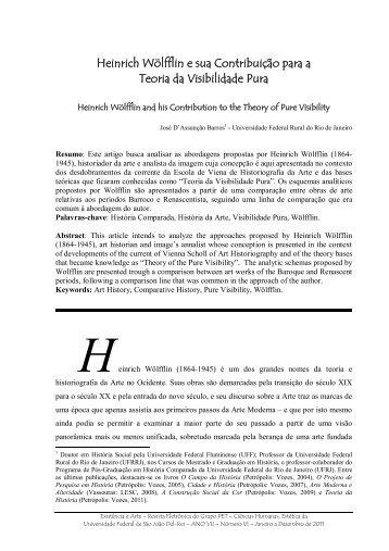 Heinrich Wölfflin e sua Contribuição para a Teoria da ... - UFSJ