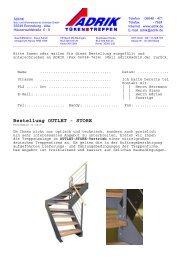 Bestellung OUTLET - STORE - Adrik GmbH