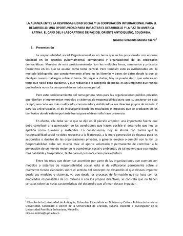 la alianza entre la responsabilidad social y la cooperación ...