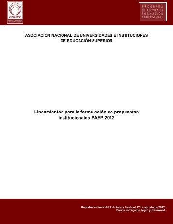 Lineamientos para la formulación de propuestas ... - Anuies