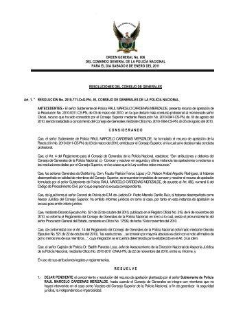 ORDEN GENERAL No. 006 DEL COMANDO GENERAL DE LA ...