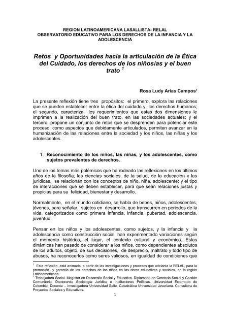 Retos y Oportunidades hacia la articulación de la Ética del Cuidado ...