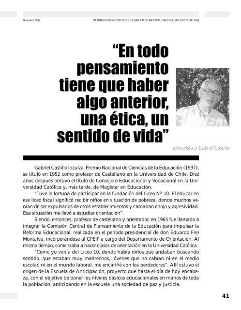 """""""En todo pensamiento tiene que haber algo ... - Revista Docencia"""