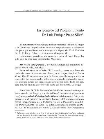En recuerdo del Profesor Emérito Dr. Luis Enrique Prego Silva