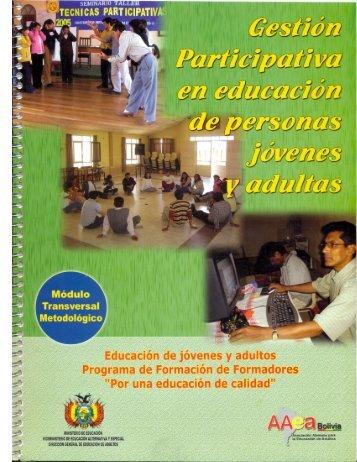 gestión participativa en educación de personas jóvenes y adultas ...