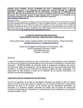 LA RED DE INVESTIGACIÓN EDUCATIVA Y SUS ... - ieRed