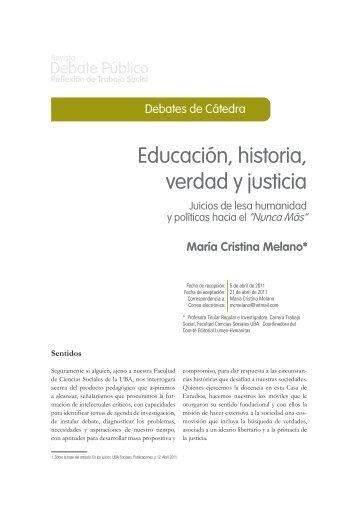 Educación, historia, verdad y justicia - Carrera de Trabajo Social