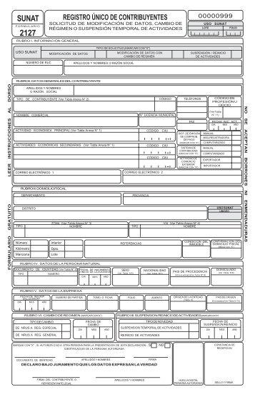 formulario 2127 - Sunat