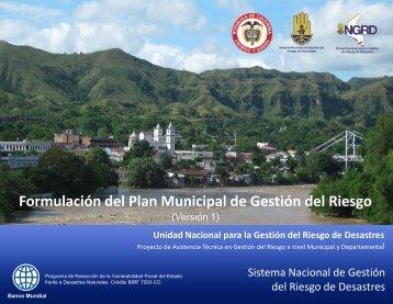 Guía para la Formulación del Plan Municipal de Gestión del Riesgo