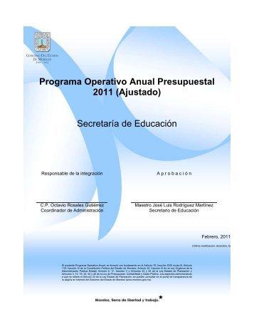 Programa Operativo Anual Presupuestal - Gobierno del Estado de ...