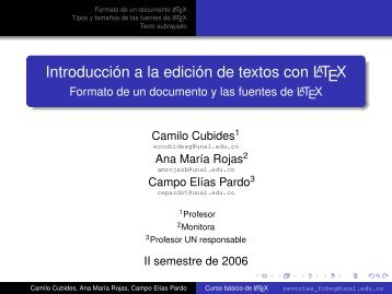 Introducción a la edición de textos con LaTeX - Formato de un ...