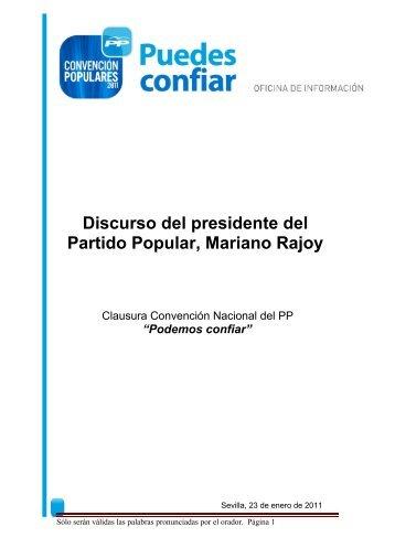 Discurso del presidente del Partido Popular, Mariano ... - El Mundo