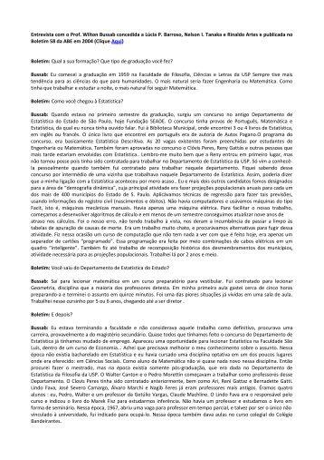 Entrevista - Associação Brasileira de Estatística