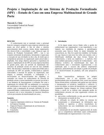 Marcelo G. Cleto - demec - Universidade Federal do Paraná