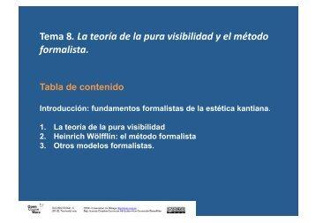 Tema 8. La teoría de la pura visibilidad y el método formalista.