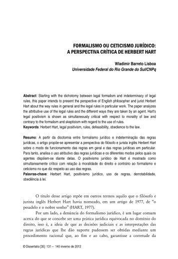 formalismo ou ceticismo jurídico: a perspectiva crítica de herbert hart