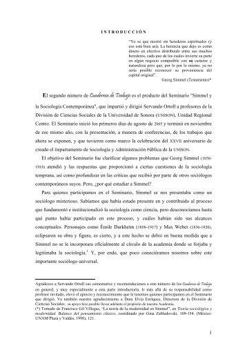 introduccion felipe mora arellano - Sociología - Universidad de Sonora