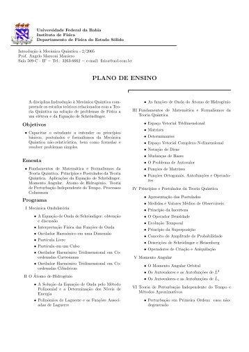 plano de ensino - Instituto de Física da UFBA - Universidade ...