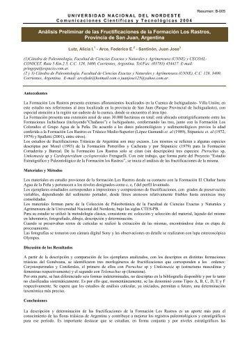 Análisis Preliminar de las Fructificaciones de la Formación Los ...