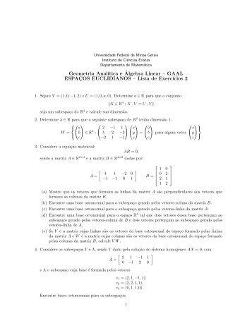Lista 2 - Departamento de Matemática