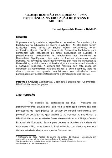 geometrias não-euclidianas - Secretaria de Estado da Educação do ...
