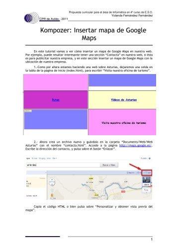Kompozer. Google Maps