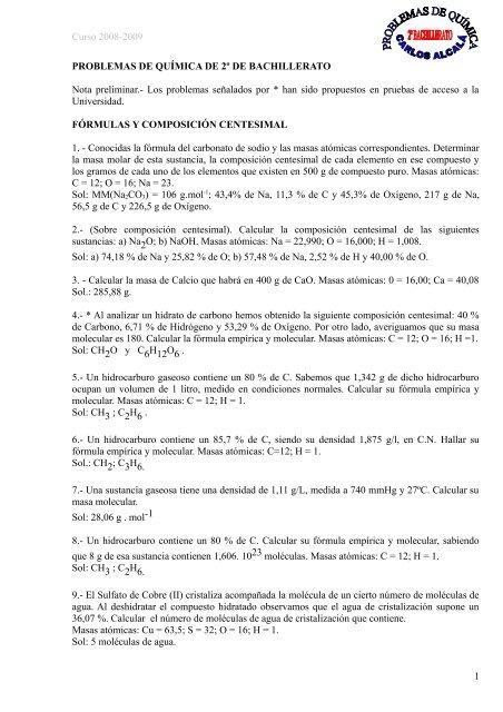 Problemas De Química De 2º De Bachillerato Ies Puerto Del
