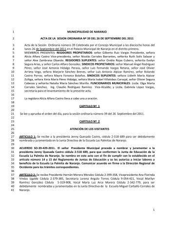 acta ordinaria 39 del 26-9-2011 - Municipalidad de Naranjo
