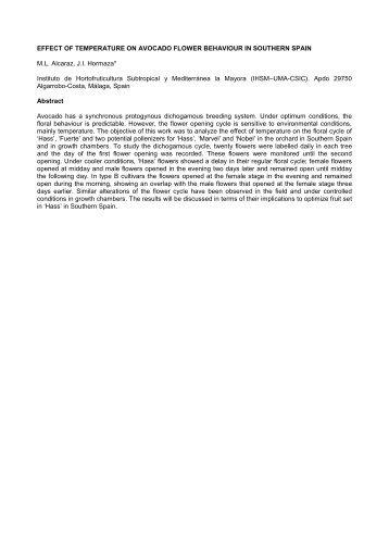 efecto de la temperatura en el comportamiento floral del aguacate ...