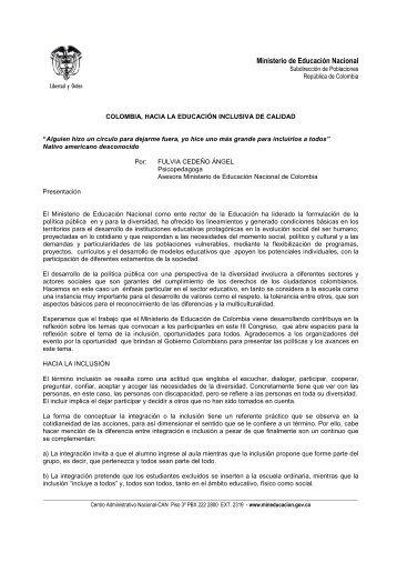 educacion hacia la inclusion con calidad - Instituto Colombiano de ...