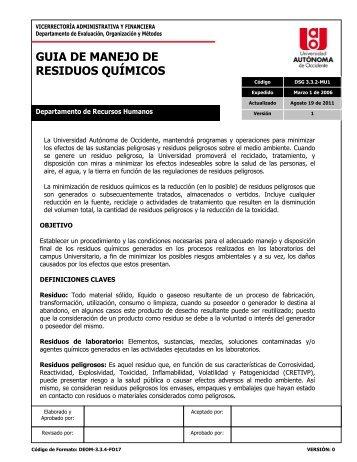 GUIA DE MANEJO DE RESIDUOS QUÍMICOS - Repositorio Digital ...