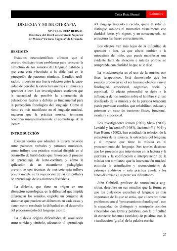DISLEXIA Y MUSICOTERAPIA - Conservatorio Superior de Música ...