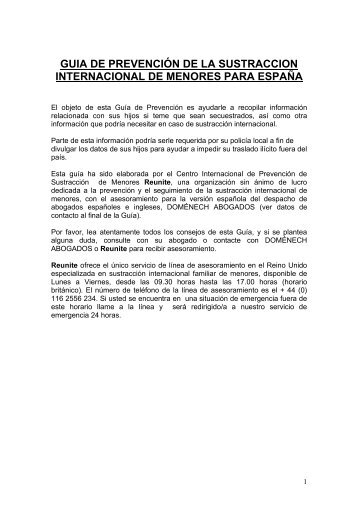 Prevention Guide Spain - Spanish Language Version - Reunite