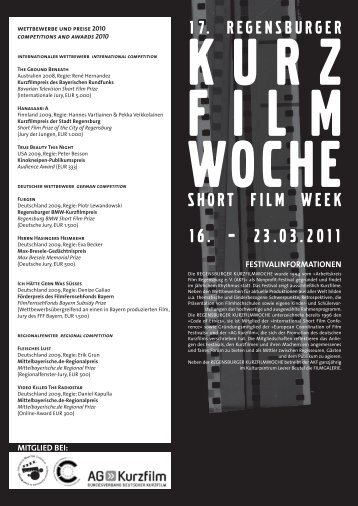 SHORT FILM WEEK 16. – 23.03.2011 - Regensburger Kurzfilmwoche