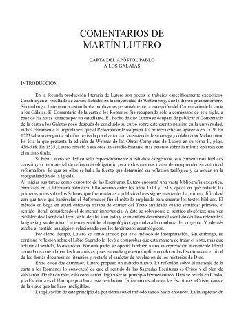 COMENTARIOS DE MARTÍN LUTERO - iglesia bautista getsemani ...