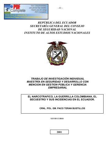 república del ecuador - Repositorio Digital IAEN