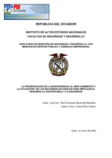 REPUBLICA DEL ECUADOR - Repositorio Digital IAEN