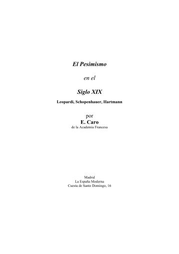 El pesimismo en el siglo XIX (por E. Caro) - IES A Xunqueira I