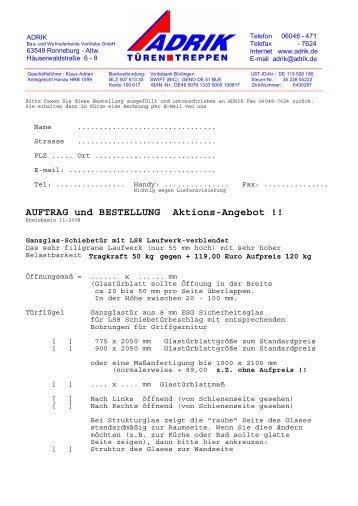 AUFTRAG und BESTELLUNG Aktions-Angebot !! - Adrik GmbH