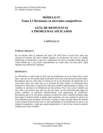 MÓDULO IV Tema 4.1 Decisiones en mercados competitivos GUÍA ...